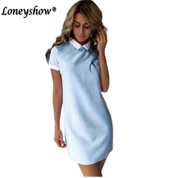 LoneyshowTurn-down Collar Mini Women Dress