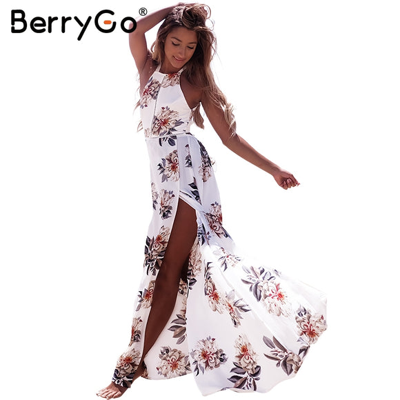 BerryGo Women Backless Maxi Beach Sundress