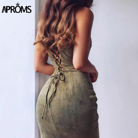 APROMS Backless Lace Up Suede Women Sundress
