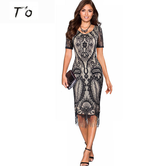 T'O  Floral Crochet Lace Women Dress