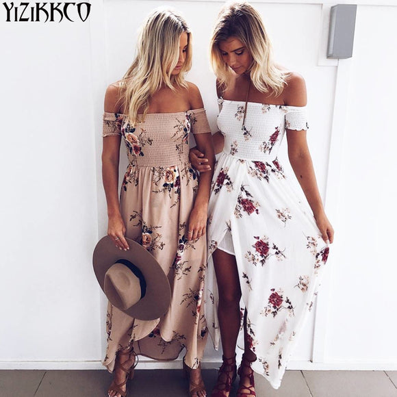 Floral Print BOHO Chiffon Women Maxi Dress