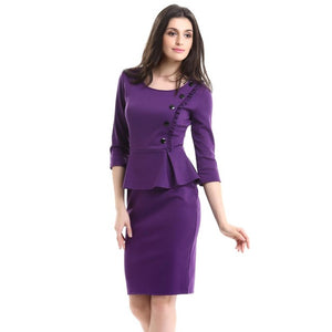 Lotus Leaf 7 points Women Sleeve Dress