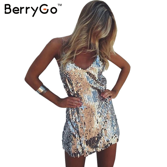 Silver Deep V-Neck Sequin Women Dress