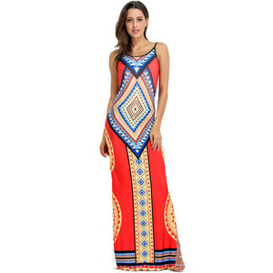 African Print Spaghetti Strap Women Dress