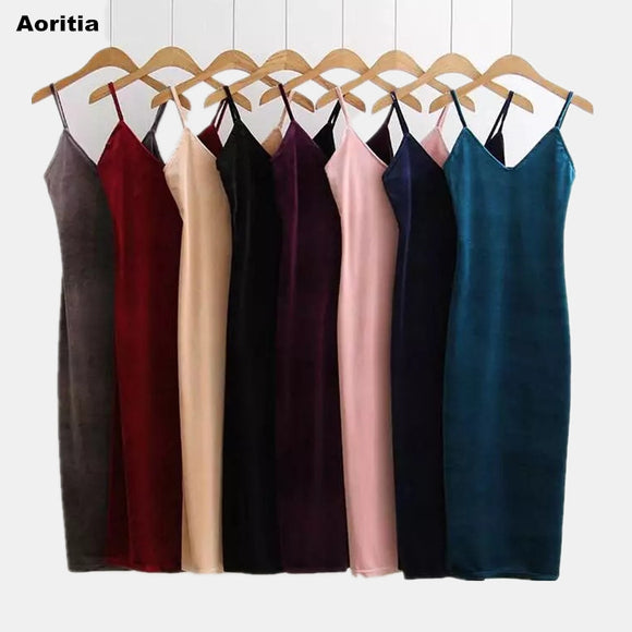 Spring Brief Style Velvet Slip Women Dress with Suspender Strap