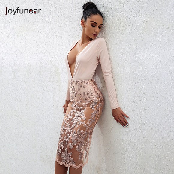 Joyfunear Sexy Deep V-neck Lace Bottom