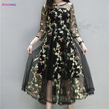 HANZANGL Floral Embroidery Mesh Women Dress