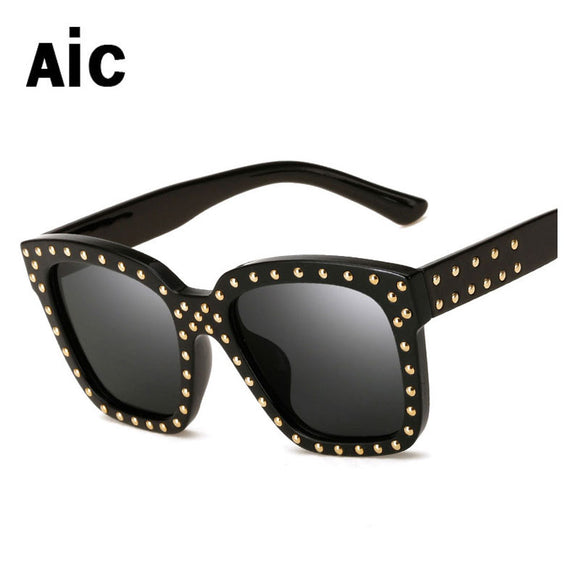 Rivets Acetate Frame Women Sunglasses