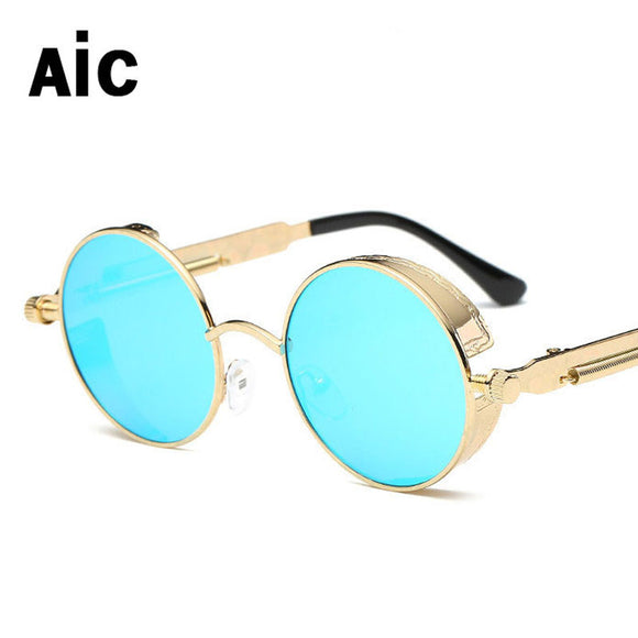 AiC Round Metal Steampunk Women Sunglasses