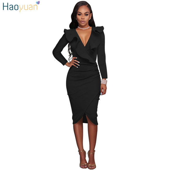 HAOYUAN V-Neck Elegant Women Robe Bodycon Dress