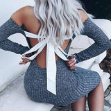 ELFIN Backless Bow-Tie Women Dress
