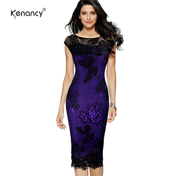 Kenancy Sequins Crochet Butterfly Lace Women Dress