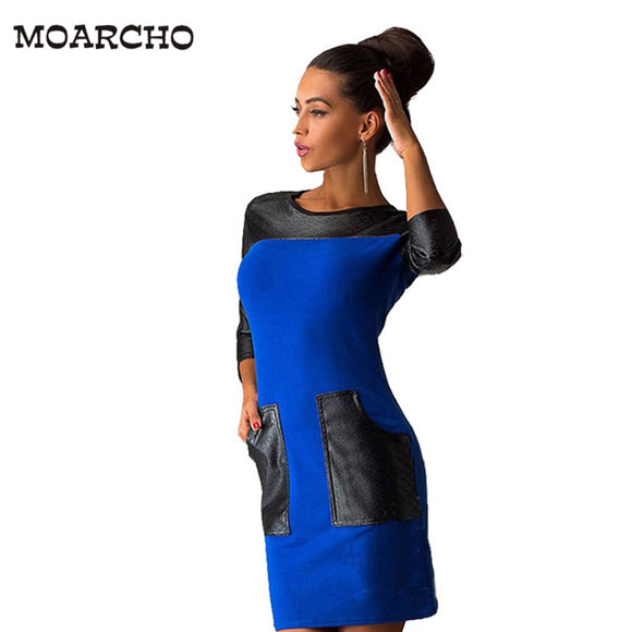 MOARCHO Women Casual Patchwork Dress