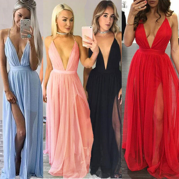 KLV Chiffon Sleeveless Boho Long Maxi Women Dress