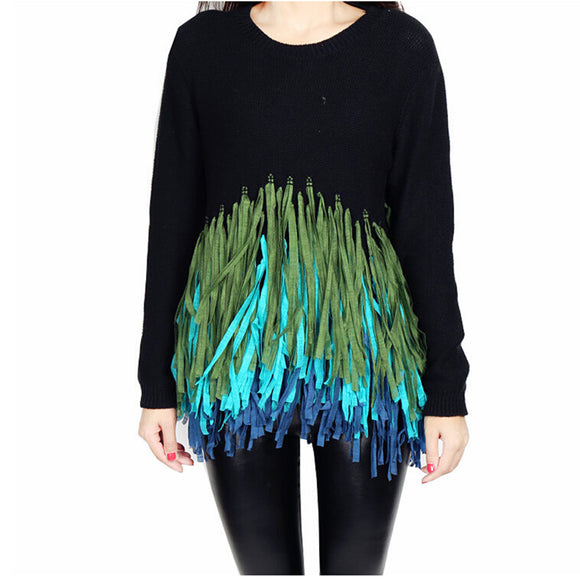 Long Sleeve Knitted Tassels Pullover