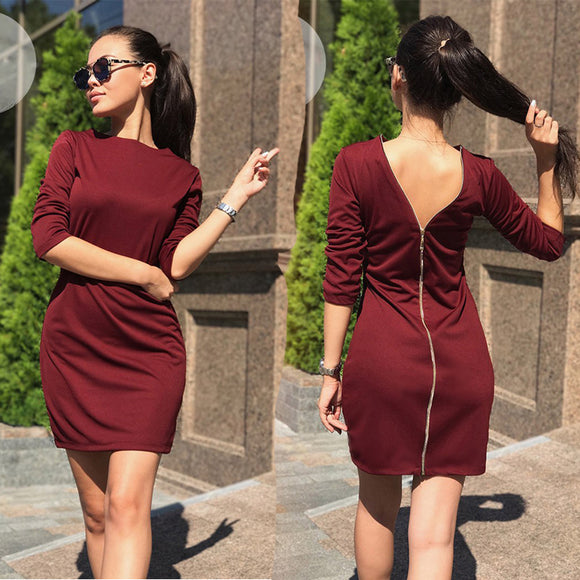 LDZHPS O-Neck Back Zipper Women Club Dress