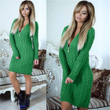 SMILE-FISH Zipper V-Neck Knit Women Dress