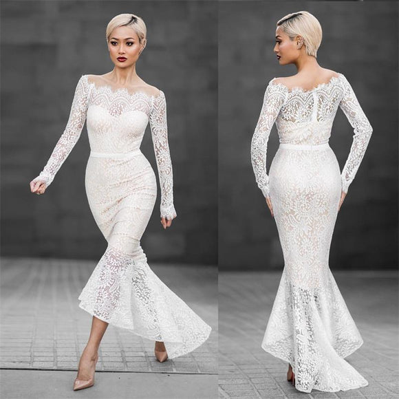 Slash Neck White Lace Hollow Out Trumpet Women Dress