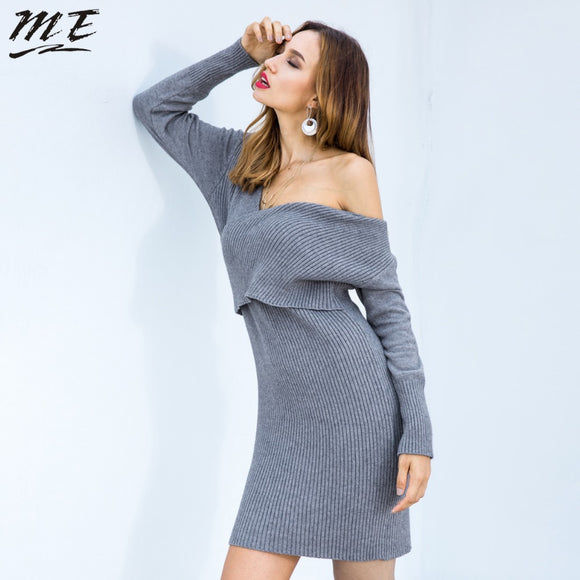 M-E Shoulder Bodycon Women Sweater Dress