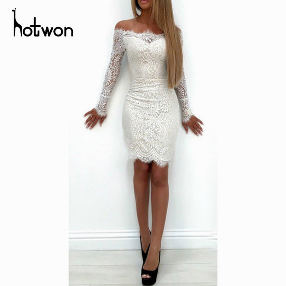 Elegant Slash Neck Sweet Lace Women Dress