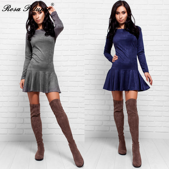Elastic High Waist Suede Short Party Dress for Women