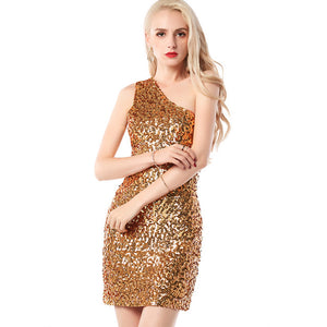 Sequined One Shoulder Women Club Dress