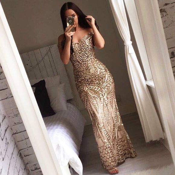 KissCC Sexy Gold Glitter Sequin Women Party Dress