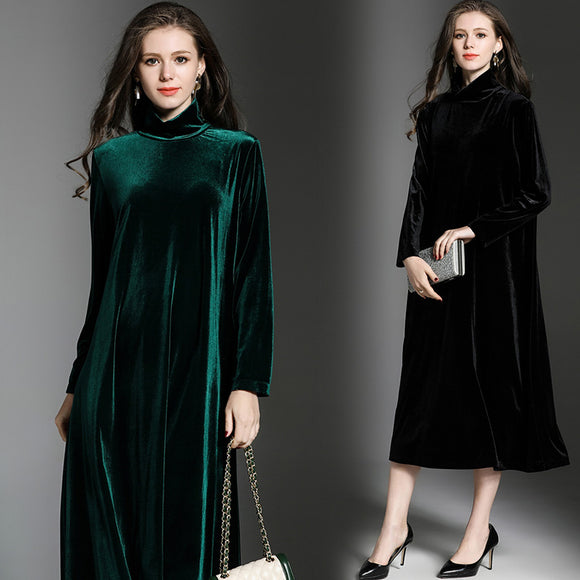 JINXU Velvet Turtle Neck Elegant Women's Dress