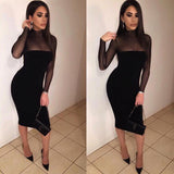 LOSSKY Sexy Women Long Sleeve Dress