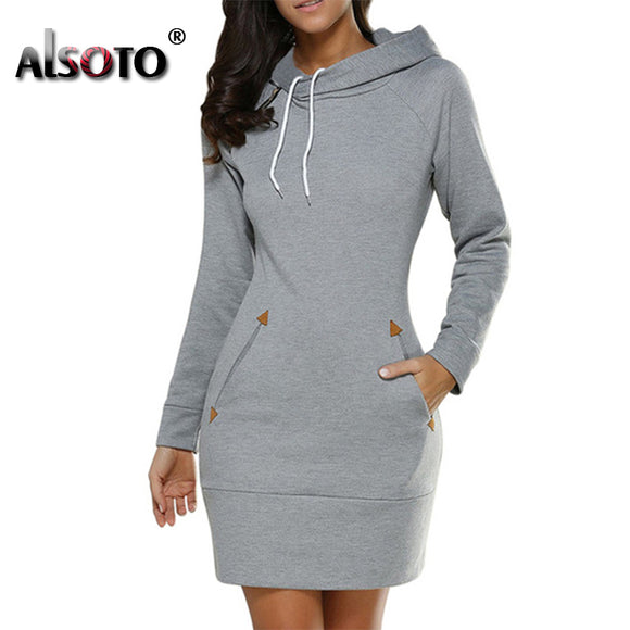 Hooded Oversized Women Sportwear Mini Dress