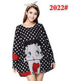 Cute Cat Print Long Sleeve Women Dress