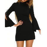 Flare Sleeve Stand Collar Zipper Women Dress