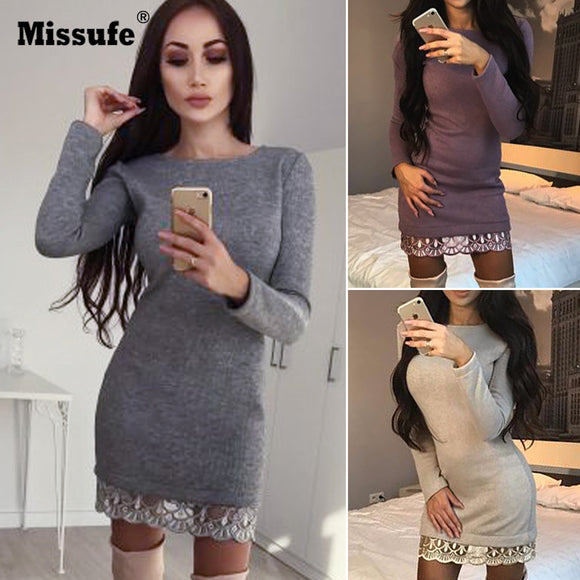 Missufe Lace Patchwork Knitted Dress Women