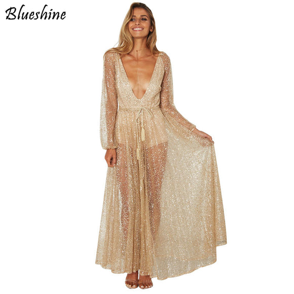 BlueShine Sequins V-Neck Maxi Women Dress
