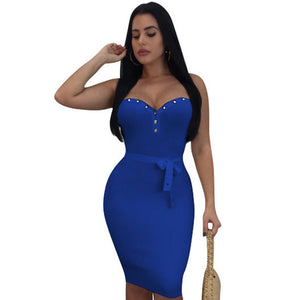 DONG-YI-MEI Strapless Sexy Bodycon Midi Women Dress