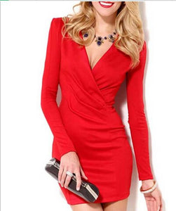 Long-Sleeved V-Neck Dress Woman Short Dress