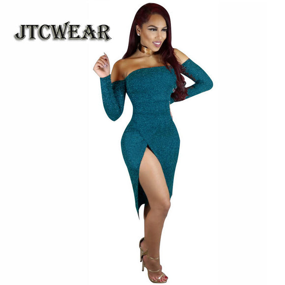 JTCWEAR Sight To Thigh Slash Neck Women Dress