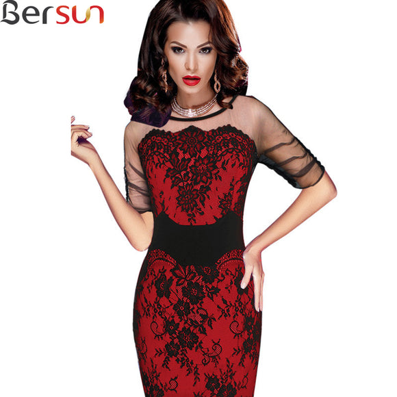 Retro Mesh Lace Formal Women Party Dress
