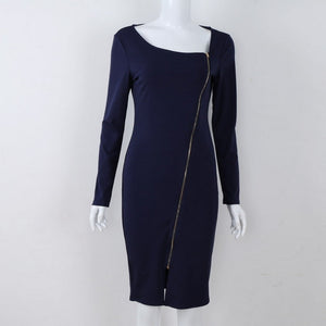 LASPERAL Long Sleeve Zipper Women Dress
