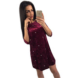 LDZHPS Velve Studded Women Party Dress