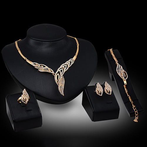 BLUELANS Wedding Choker Necklace Bracelet Ring Earrings for Women