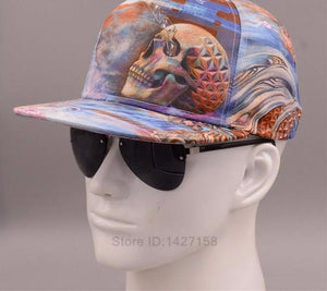 2017 New Skull Flat Brimmed Hat Male Hip-hop 3D Thermal Spring And Autumn Personality Snapback Hat Leisure Baseball Caps