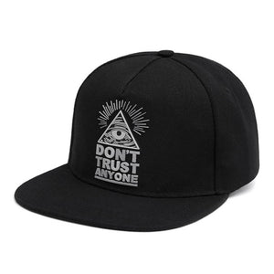 Cotton Snapback 3d God Eyes Plastic Patch Mens Flat Brim Baseball Cap Hip Hop Hat And Cap For Men And Women Bone