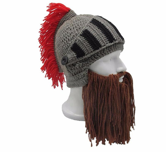 Red Tassel Cosplay Roman Knight Knit Helmet Men's Caps Original Barbarian Handmade Winter Warm Beard Hats Funny Beanies