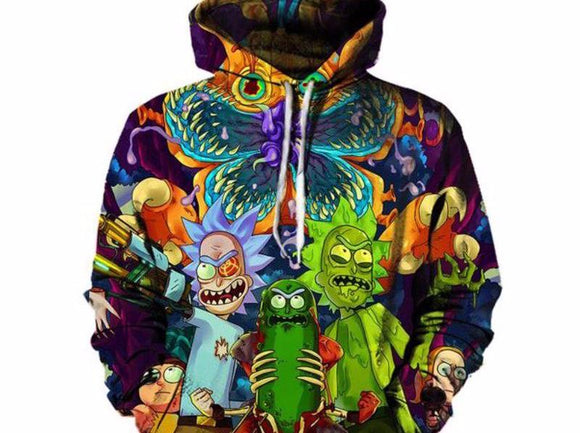 2017 Fashion Hip hop 3d Hoodies Hot cartoon rick and morty printed Women/Men Hoody Streetwear hooded sweatshirts