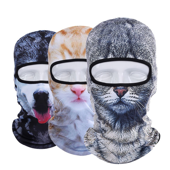New 3D Animal Dog Cat Balaclava Cap Halloween Hats Bicycle Protection Helmet Full Face Mask