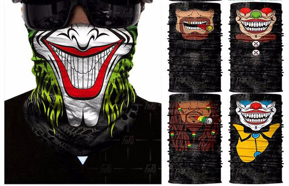 3D Seamless Skull Balaclava Neck Face Mask Halloween Clown Joker Headscarf Military Bandana Protection Headwear Bicycle Scarf