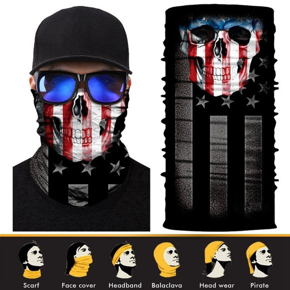 3D Design Human Face Skull Bandana High Elastic Seamless Scarves Riding Mask Bicycle Magic Sport Hat Bandanas