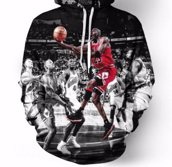 Men/women's 3D Pullover Hoodie Print Jordan Dunk Sweatshirt Long Sleeve Crew Neck Casual Sweatshirt Autumn Winter Pullover
