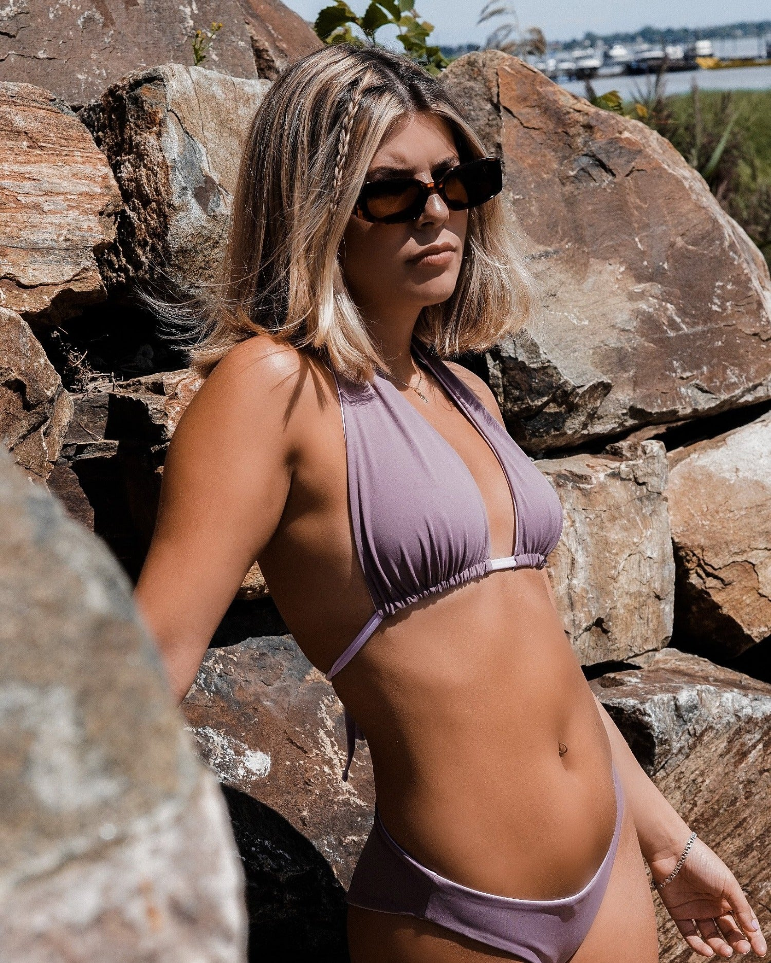 Ares halter bikini top. Reversible. Lilac and Mauve.